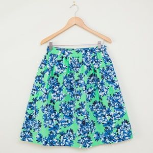 J Crew Mint Blue Floral Patio Skirt